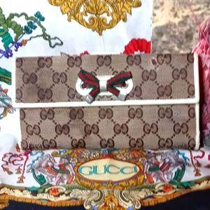 Gucci Princy Bow Wallet Sherry Web